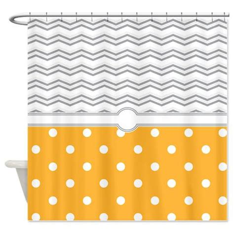 polkadot orange grey white zigzag shower curtain