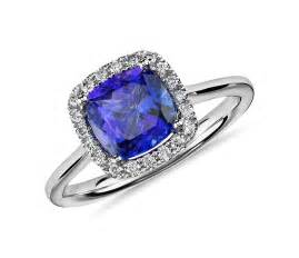 wedding consultants tanzanite cushion and diamond halo ring in 14k white gold