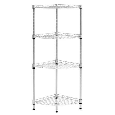 4 Tier Wire Shelving Rack Metal Shelf Adjustable Corner