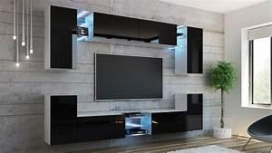 Moderne Wohnwände Weiss Hochglanz : kaufexpert wohnwand galaxy schwarz hochglanz wei mediawand medienwand design modern led ~ Sanjose-hotels-ca.com Haus und Dekorationen