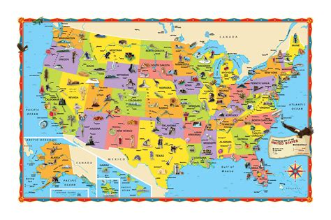 large tourist illustrated map   usa usa united