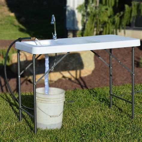 outdoor sink table 46 in portable cleaning station kitchen