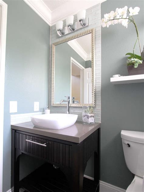 Contemporary Bathroom Backsplash Ideas by In This Soothing Blue Gray And White Contemporary Bathroom