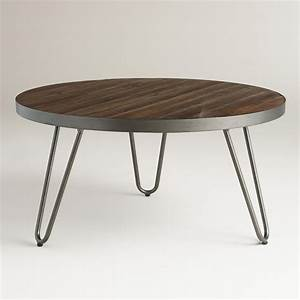 Round wood hairpin coffee table hairpin legs acacia for Wood top metal legs coffee table