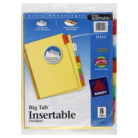 avery big tab template avery big tab insertable dividers 8 tabs