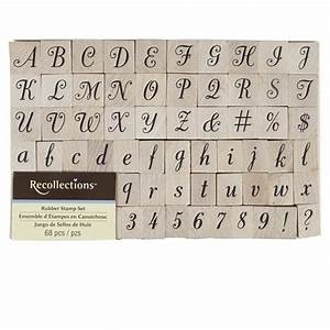 recollections wood stamp script alphabet numbers set With letter and number ink stamps