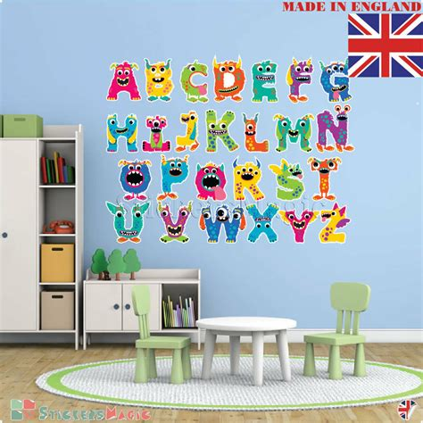 alphabet wall stickers kids nursery school large letters