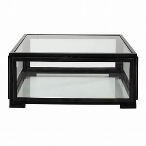 Table Basse Carre En Verre Et Mtal Noire L 80 Cm