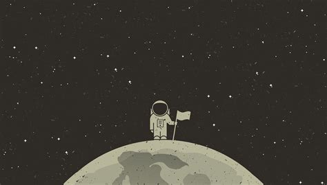 Simple Background, Simple, Space, Astronaut, Flag