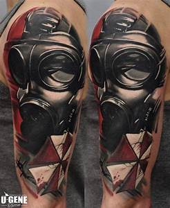 Shoulder Gas Mask Tattoo by Redberry Tattoo