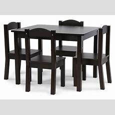 Tot Tutors Kids Wood Table And 4 Chairs Set, Espresso