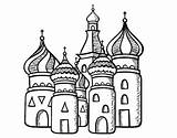 Cathedral Moscu Saint Basil Coloring Colored Registered sketch template