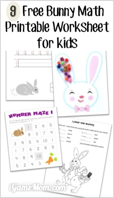 9 free bunny math printable worksheets for kids