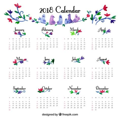 cute vintage calendar template vector