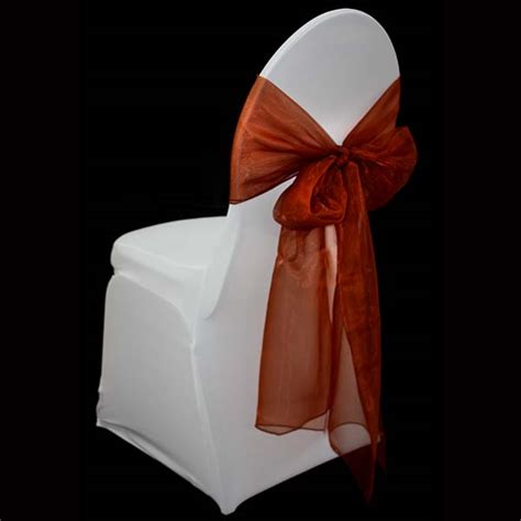 burnt orange organza chair sash the tablecloth hiring