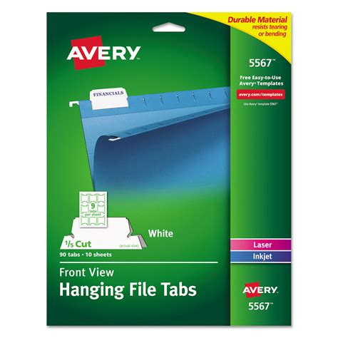 hanging file folder tab print write on hanging tabs by avery 174 ave5567 ontimesupplies