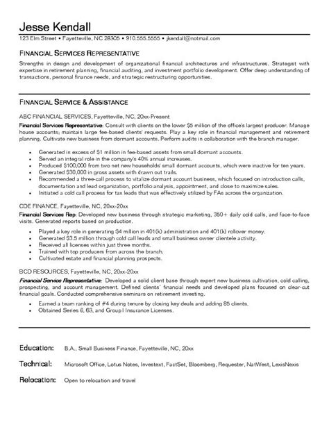 financial objectives exles for resume exle financial service representative resume free sle