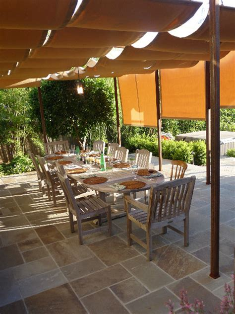 retractable sun shades  covered terrace traditional patio san francisco  mad