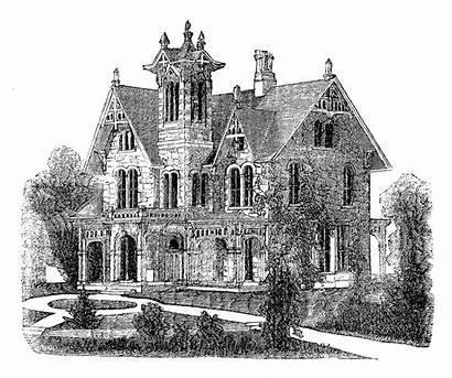 Victorian Digital Stamp 1859 Illustration Villa Antique