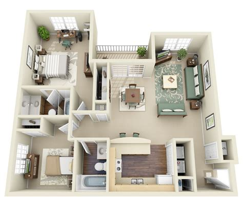 2 Bedroom Small Apartment Design by Two Bedroom House Plans Interior Design For 2 Bedroom