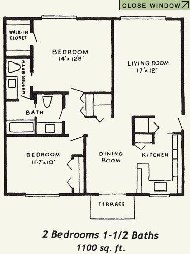 2 bedroom 1 bath 2 bedroom1 1 2 bath floor plan 13924 | 2 Bedroom 1 1 2 Baths 1100