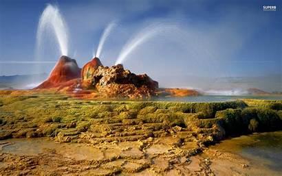 Geyser Fly Nevada Geysers Usa Wallpapers Landscape