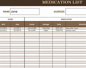 free medication administration record template excel With medicine prescription template