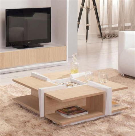 table basse bois clair et blanc sigma