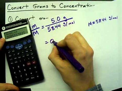 convert grams  moles  litre concentration