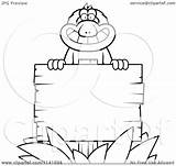 Sign Coloring Wooden Monkey Macaque Clipart Cartoon Pages Planks Cory Thoman Outlined Vector Plank Template sketch template