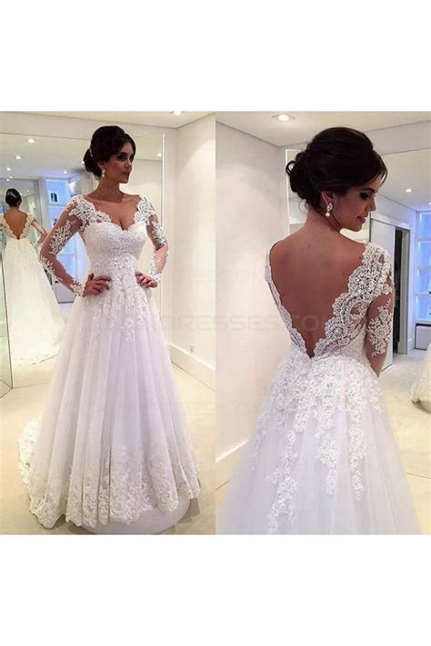 sleeve v neck lace up dress a line sleeves lace v neck wedding dresses bridal