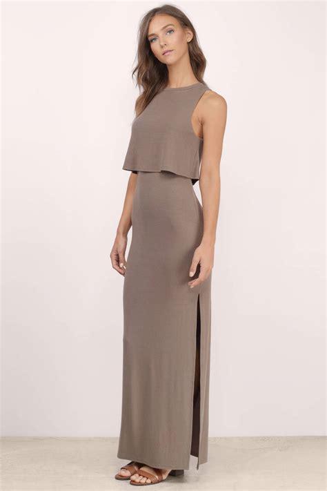 taupe color dress taupe maxi dress brown dress high neck dress 68 00
