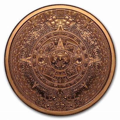 Aztec Calendar Round Copper Oz Unze Aurinum