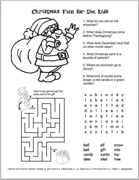 Preschool Christmas Worksheets Printables