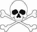 Skull Coloring Bones Printable Crossbones Skulls Clip Clipart sketch template