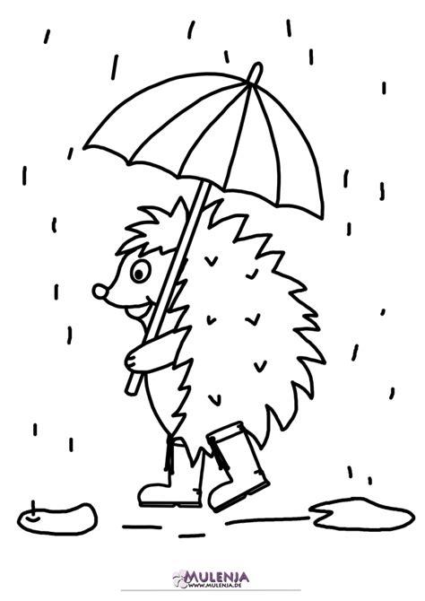 malvorlage igel im regen zum drucken und ausmalen