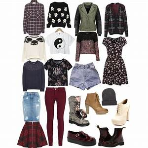 Soft grunge clothing collection. I especially like the grey boots and assortment of tops. - Picmia