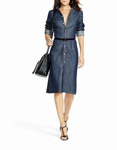 lyst polo ralph lauren denim button down shirtdress in blue With robe chemise ralph lauren