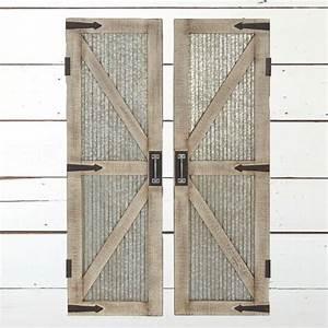 Wooden door wall decor : Corrugated metal wood framed barn door panel wall decor