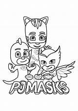 Coloring Pj Masks Children Pages Funny sketch template
