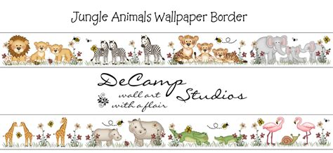 Baby Jungle Animals Wallpaper Border - jungle wall border decals for baby nursery or