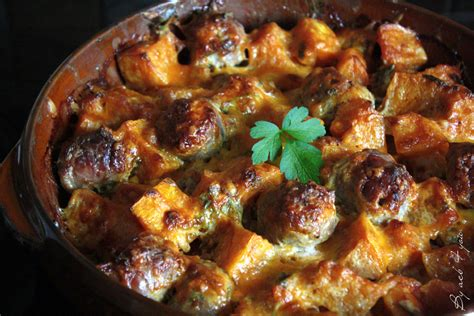 cuisiner des saucisses de toulouse gratin de butternut à la saucisse by acb 4 you