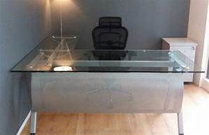 L shape glass top table tct office furniture malaysia for D home furniture malaysia