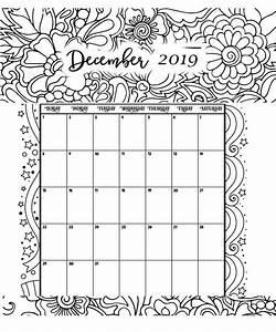 December Printable Coloring Calendar 2019