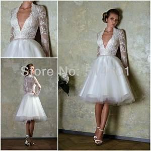new v neck sheer back long sleeve lace bodice tulle knee With knee length long sleeve wedding dress