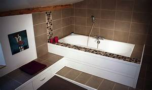 Habillage Baignoire Bois : salle de bain en mdf laqu blanc et pic a teint verni ~ Premium-room.com Idées de Décoration