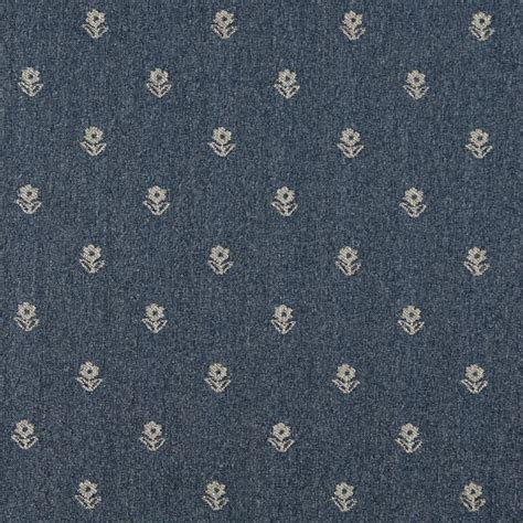 Country Upholstery Fabric by Blue And Beige Flowers Country Upholstery Fabric By The Yard