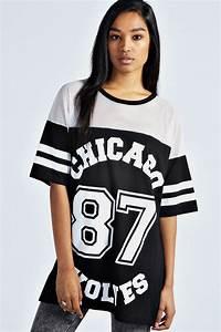 boohoo sasha chicago wolves oversized baseball tee top ebay With robe baseball femme