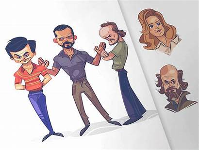 Narcos Cartoon Character Dribbble Characters Gangster