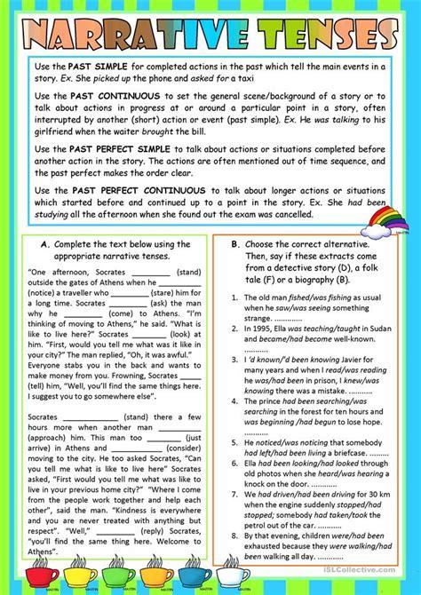 narrative tenses worksheet  esl printable worksheets